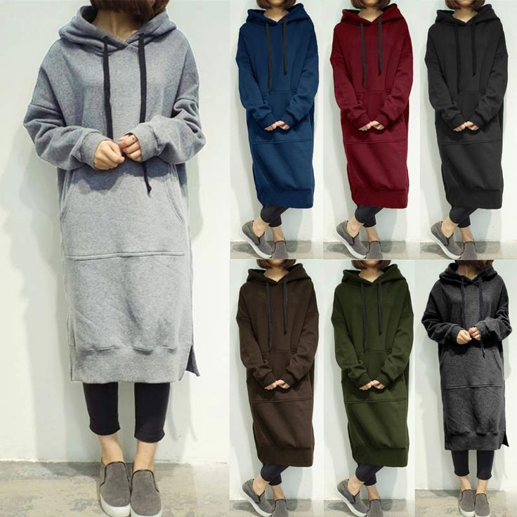 7 Colors Casual Women Solid Color Long Sleeve Pocket Hooded Sweatshirt Dress