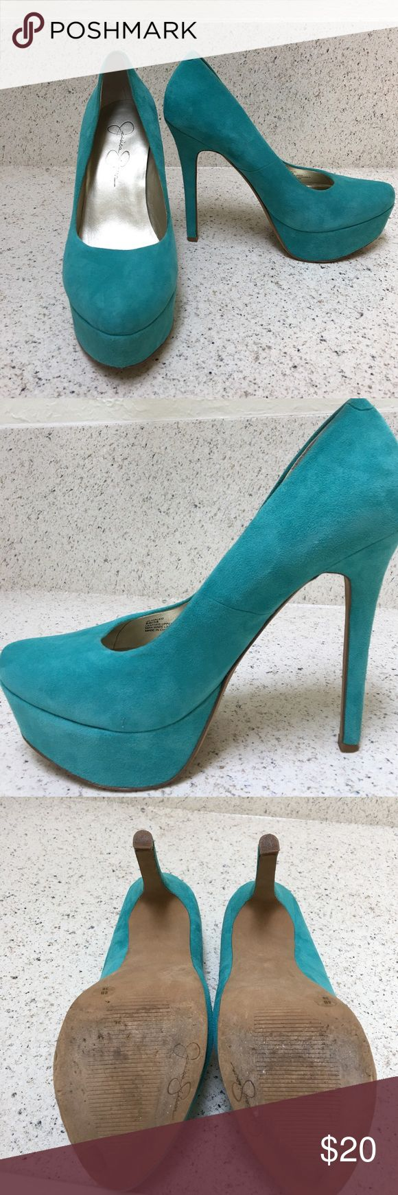 Jessica Simpson Teal High Heels Size 8, worn once to a wedding, great condition Jessica Simpson Shoes Heels