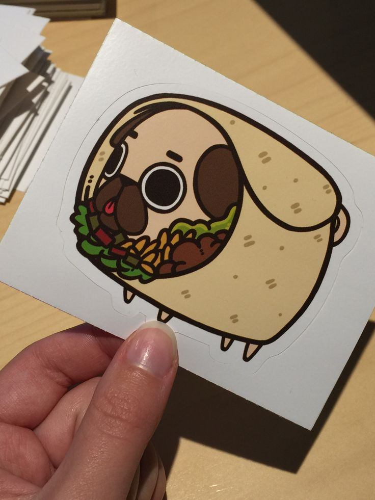 Whoever thought to combine pugs with delicious foods is a true artistic genius. Love this adorable little pugrrito by Puglie on Redbubble. Get it on tees and stickers and show off your love!
