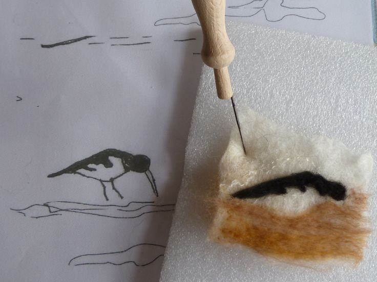 Although my work is predominantly wet-felted, I sometimes add extra detail with a felting needle, and then wet-felt into place.  See more work by LittleDeb on Facebook, Folksy and Etsy.