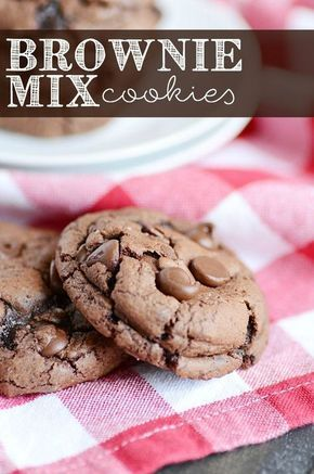 Fudgy delicious Brownie Mix Cookies. A boxed brownie mix + a few simple ingredients = the most killer brownie cookies of all time!