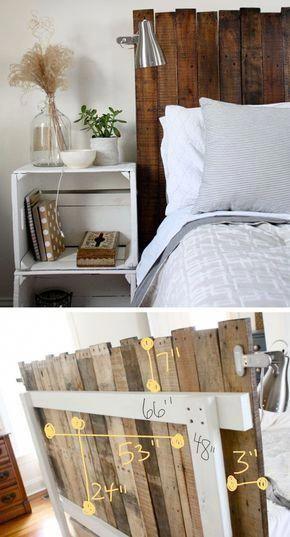 Stained Pallet Headboard | Click for 18 DIY Headboard Ideas | DIY Bedroom Decor Ideas on a Budget #homedecorideasdiy