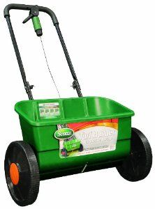 Scotts 76565 Turf Builder Classic Drop Spreader, 10000-Square-Foot Coverage by Scotts. $54.97. 22-inch spread pattern for maximum coverage and accruacy.. Heavy-duty frame for optimum stability. *. Fully assembled and ready to use.. Large capacity hopper holds more than 10,000 square feet of Scotts lawn products. Scotts spreaders include an unique Edgeguard feature  Applies product only where you want it Many Scotts spreaders include a unique Edgeguard feature tha...