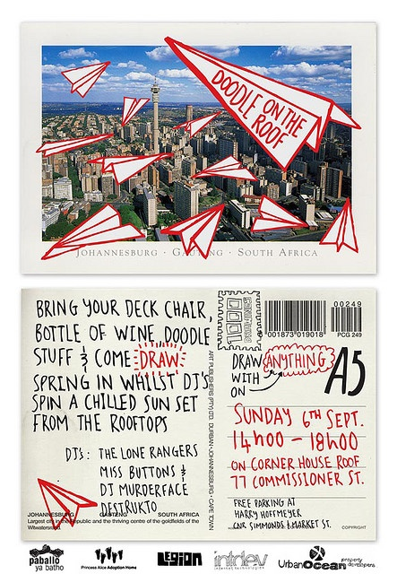 Night of 1000 Drawings - Doodle on the Roof invite by Shaun Botes