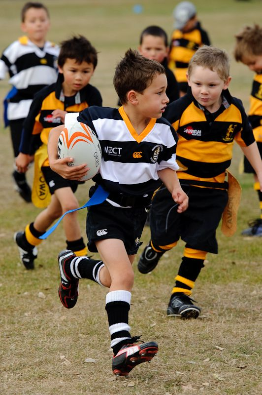 It's never too early to teach a child to play rugby.
