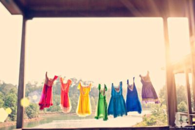 a rainbow of dresses