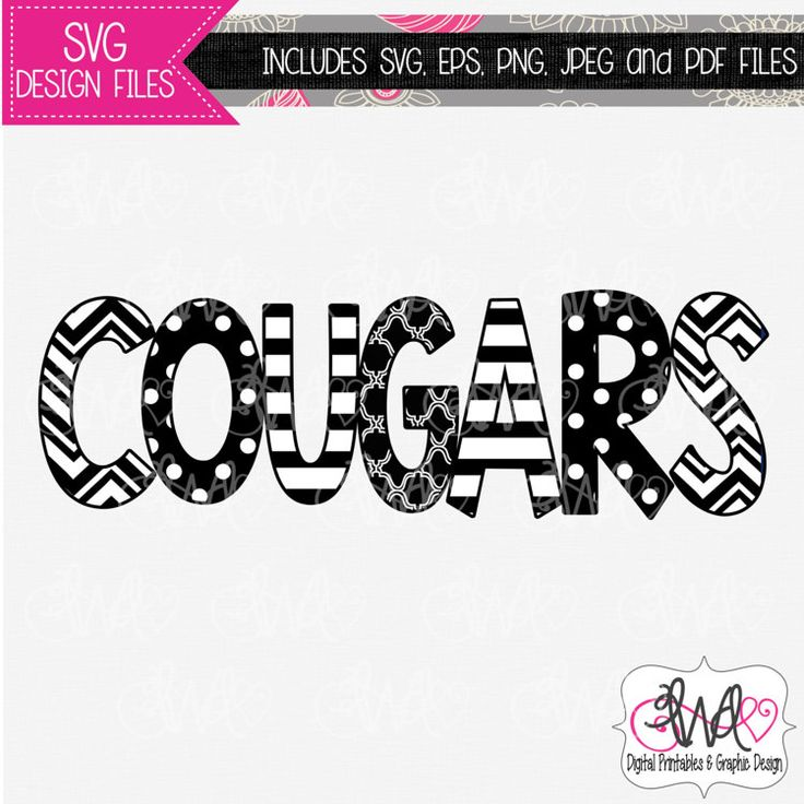 Svg Design File Cougars Mascot Design For By Lwddigital
