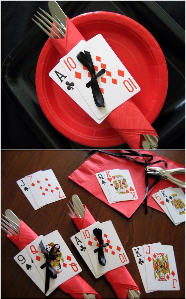 Playing card decorations on cutlery and napkins