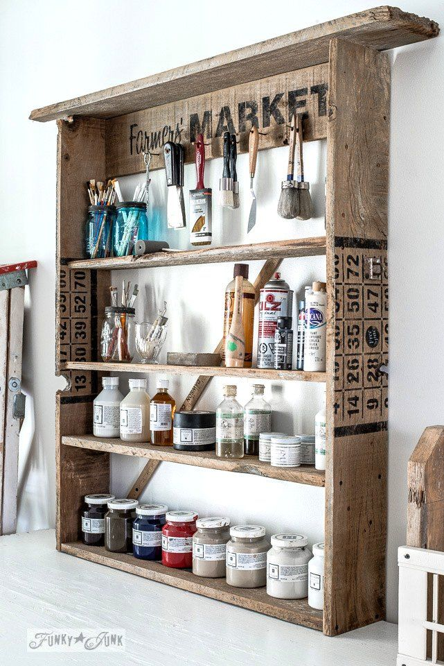 A Rustic solution to art supply storage thanks to a Few Old Signs
