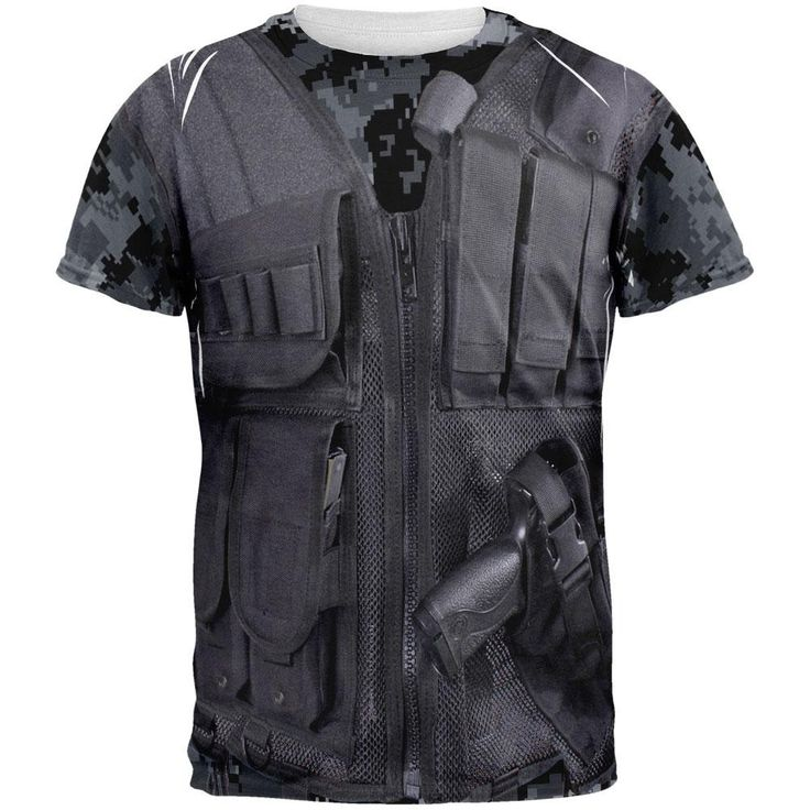 Urban Camo Police Tactical Vest All Over Adult T-Shirt