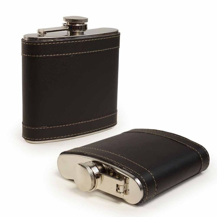 E-Volve Personalised Hip Flask 6Oz Stainless Steel Genuine Leather - Black