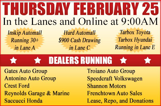 Join Us In The Lanes And Online With Inskip Automall 30 Hurd Automall 50 And 900 Cash
