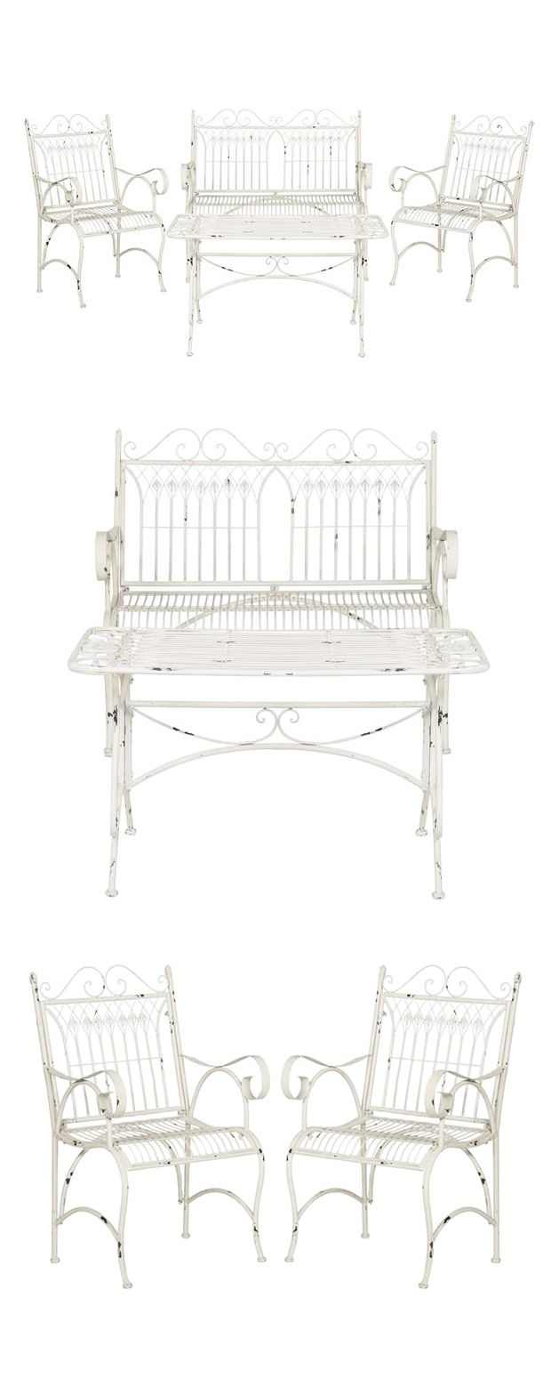 Bring a dash of traditional class to your patio or backyard retreat with this elegant Victorian-inspired Lillian Outdoor Set. Made from beautifully worked iron, each piece in this set boasts charmingly...  Find the 4-Pc. Lillian Outdoor Set, as seen in the Lounge Sets Collection at http://dotandbo.com/category/furniture/garden/lounge-sets?utm_source=pinterest&utm_medium=organic&db_sku=118151