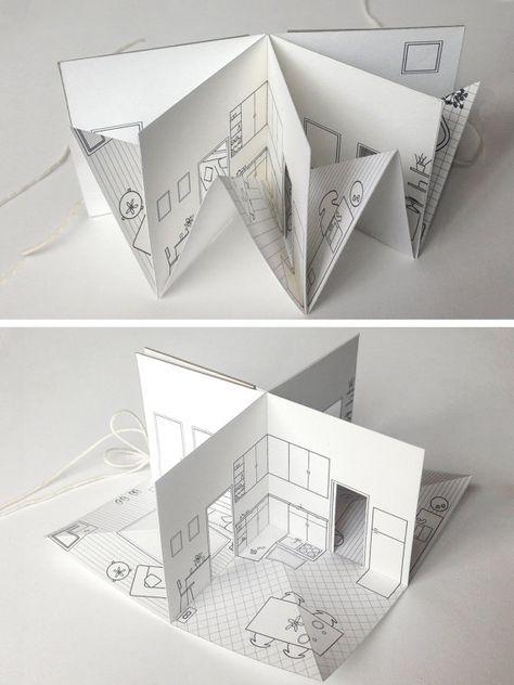 Haus kleine Pop-up mit Bildband 3/16 Skala Papier von pipsawa
