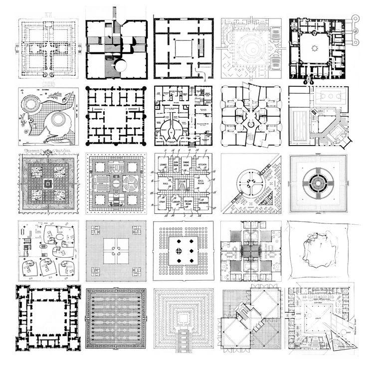 25 SQUARE PLANS From Left to Right: Bertram G. Goohue, Nebraska State Capital, Plan, Lincoln, Nebraska / Julian Elliott, Plan of the Pilcher House, Zambia / Typical Plan of Ancient Moorish Dwelling,...