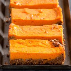 Sweet Potato Bars are a healthful treat, with a nutty, gluten-free crust and a filling based on nutritionally outstanding sweet potatoes. Make these bars this weekend!