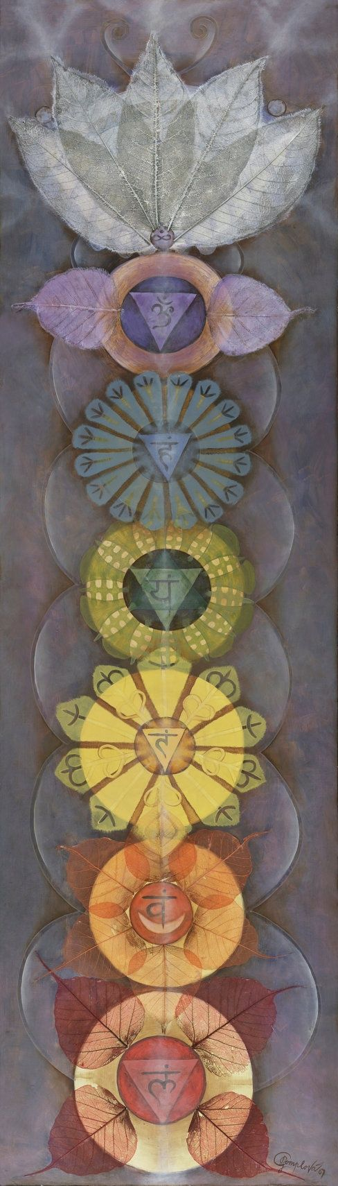 Beautiful Chakras by Gabriela Pomplova. This kind of vertical design is something to explore. Maybe some textile wall hangings.. #couleursnouvelles