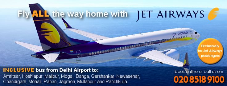 Fly All the way home with Jet AIRWAYS.