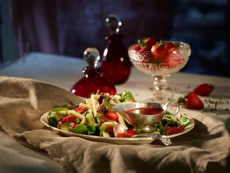 Spring is the perfect season for a refreshing fruity cheese salad with a strawberry vinaigrette dressing.
