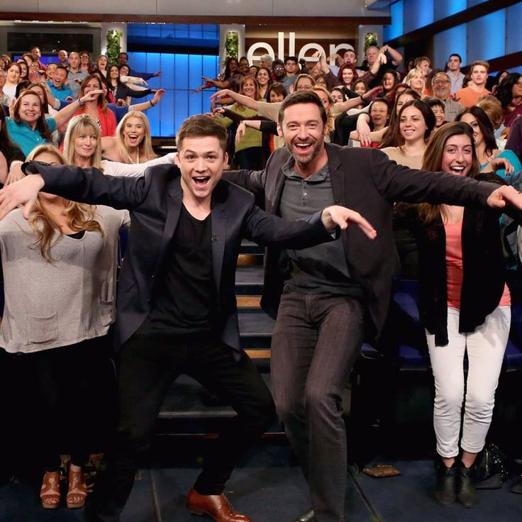 Taron Egerton and Hugh Jackman on The Ellen Show today!! Ahh, I loved it!!