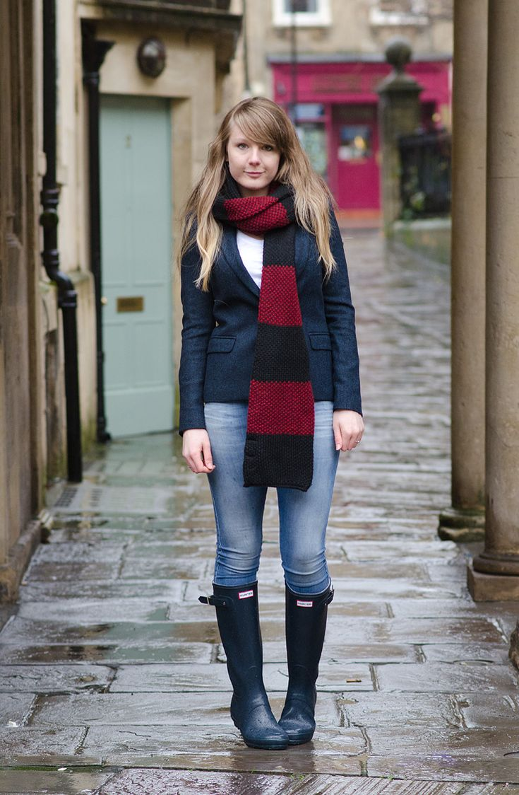 Navy Jeans Blazer Rain Wellies Outfit http://raindropsofsapphire.com/2014/01/06/braving-the-rain-in-navy/