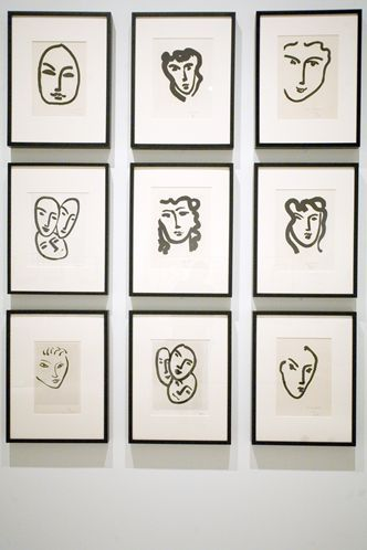Several dozen examples of Henri Matisse's late-career portraits are displayed dramatically on walls at the Tampa Museum of Art. The lift-ground aquatint technique most closely resembles brushstrokes.