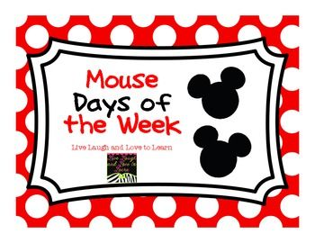 ~FREE~ Mouse days of the week cards to add some magic to your bulletin board, walls, or calendar area!Please visit my store for more mouse freebies! :...