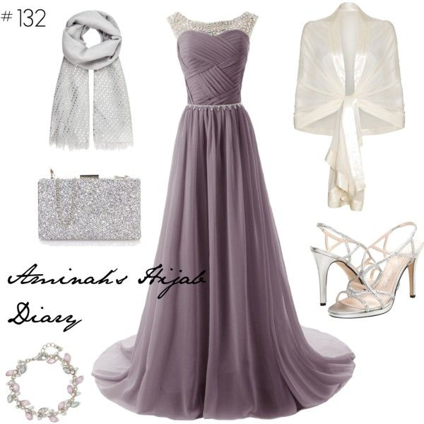 http://aminahshijabdiary.wordpress.com/ #hijab #modestfashion #muslimah #fashion #outfit #style #look #ootd #lotd #eveninggown #dress #grey #white #silver #prom