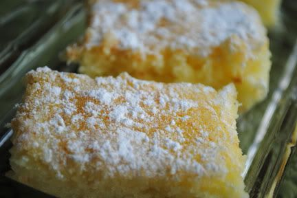 "Two-Ingredient Lemon Bars ~ ""All you need it an angel food cake mix and a can of lemon pie filling. Mix them together and bake in a 9x13 cake pan at 350 degrees for 20 minutes. As they are cooling, sprinkle with powdered sugar."