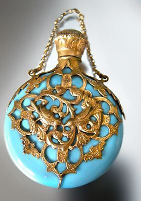 Fine Antique French Blue Opaline Glass Perfume Flask Scent Chatelaine Bottle