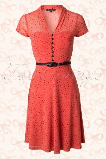 King Louie Peach Polkadot A line Dress 104 29 13825 20150112 0005W
