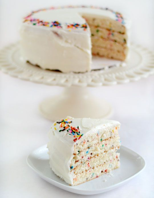 Confetti Cake (from scratch)    Looks delicious: Scratch, Funfetti Cake, Fun Recipes, Birthdays, Birthday Cake Recipes, Savory Recipes, Cake Layers, Birthday Cakes