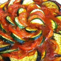 Disney's Ratatouille Allrecipes.com. Ingredients: tomato paste, onion, minced garlic, olive oil, pepper, eggplant, zucchini, yellow squah, red & yellow bell pepper, olive oil, thyme, marscarpone cheese