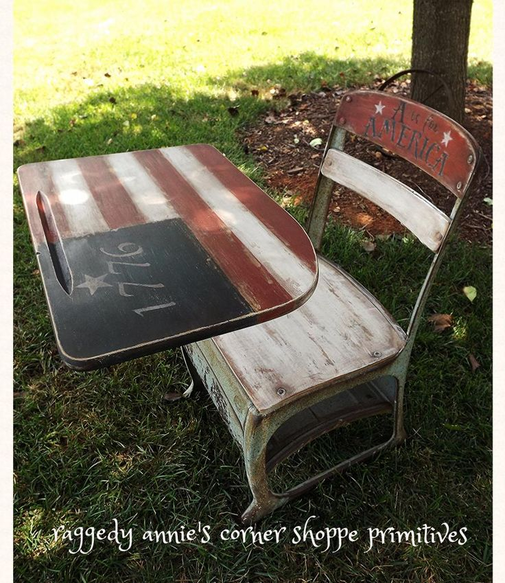 Hand Painted Primitive Americana Vintage School Desk... this is one of my favorites. <3