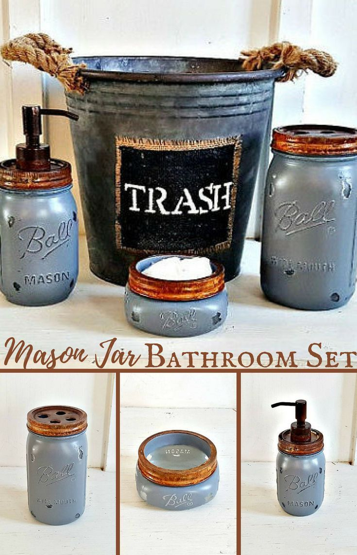 I love this rustic mason jar bathroom