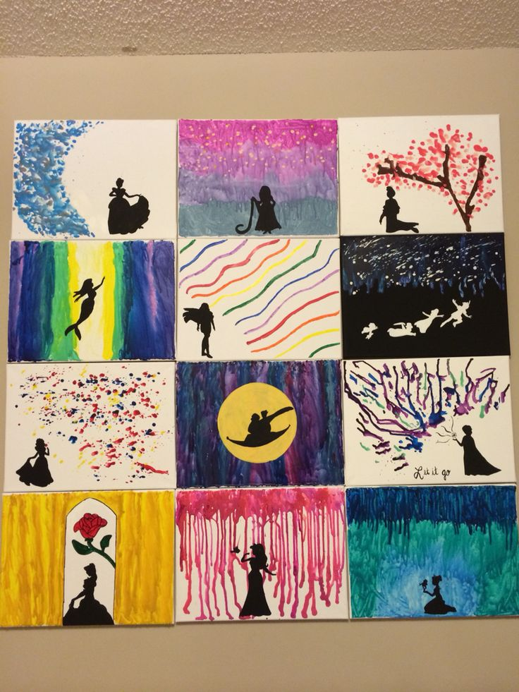 My disney melted crayon canvases disney all things for How to make a melted crayon art canvas