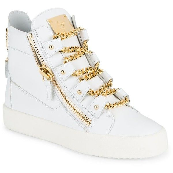 Giuseppe Zanotti Men's Leather Chain Lace-Detailed High-Top Sneakers -... ($500) ❤ liked on Polyvore featuring men's fashion, men's shoes, men's sneakers, no color, mens leather high top sneakers, mens sneakers, giuseppe zanotti mens shoes, mens high tops and mens high top shoes