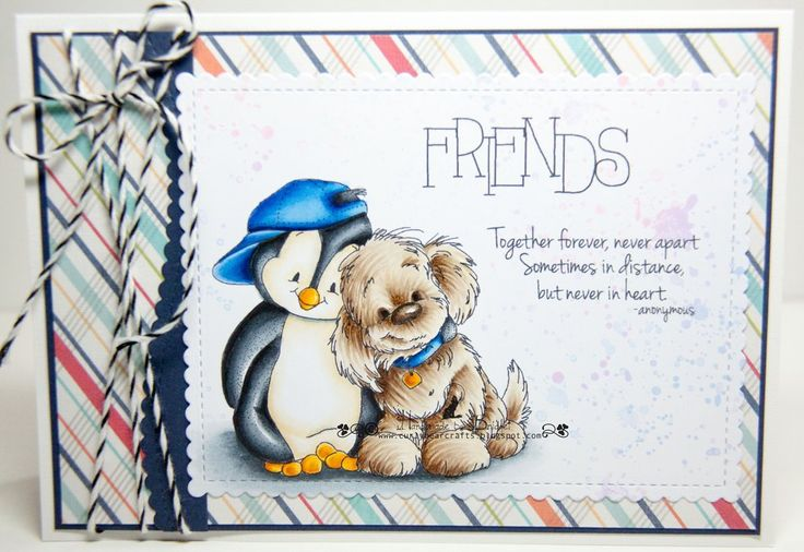 Totally cute card with adorable penguin and his dog, great for a little boys card *NEW Distant Friends stamp from whimsy stamps
