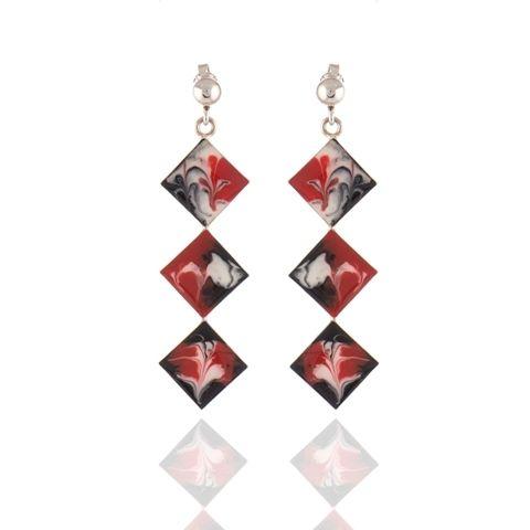 Cercei unicat din argint pictati manual cu email (uscare la rece), rosu/ negru/ alb. Silver hand painted earrings. #jewelry #silver #cercei #argint #bijuterii #roxoboutique