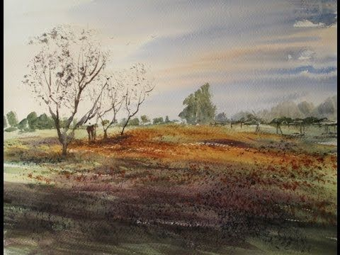 ▶ How to paint a simple meadow with watercolours - YouTube