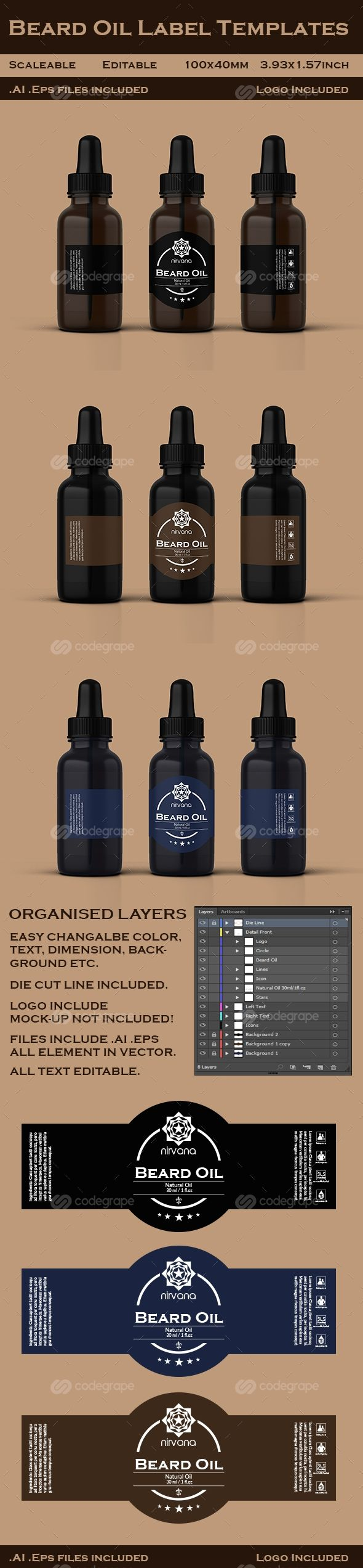 Beard Oil Label Templates on @codegrape. More Info: https://www.codegrape.com/item/beard-oil-label-templates/10628