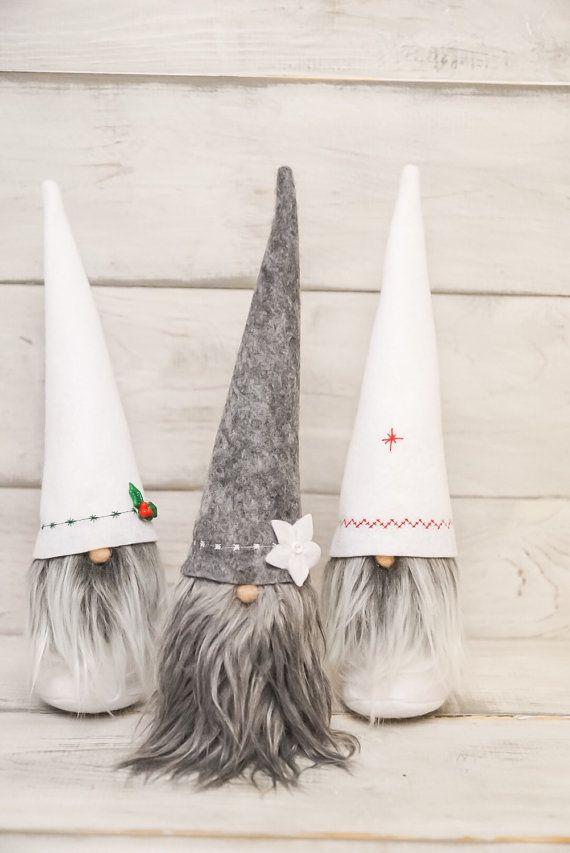 Christmas gnome felt gnome tomtit dolls, nisse, tomte by thelittlegreenbean