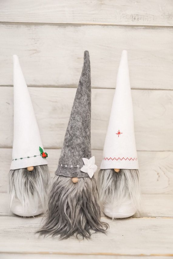 Christmas gnome felt gnome tomtit dolls, nisse, tomte by thelittlegreenbean