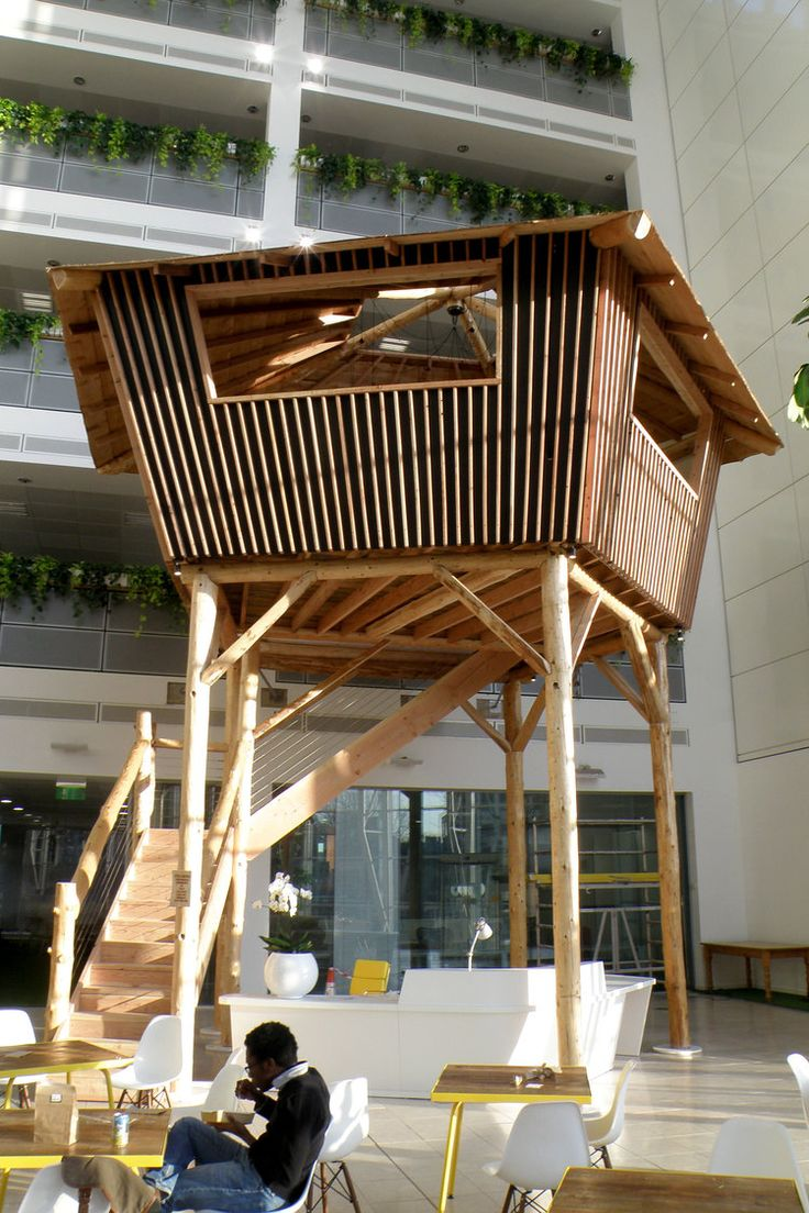This treehouse was built for OVO (a green energy company) and installed in their office foyer in Bristol near Templemeads station. The concept was to create a fun meeting space and striking centerpiece. We worked with specialist treehouse company Bower House Construction and the concept design was by Shankari Edgar of Nudge Architects. See m,ore of our projects at www.roundwooddesign.co.uk