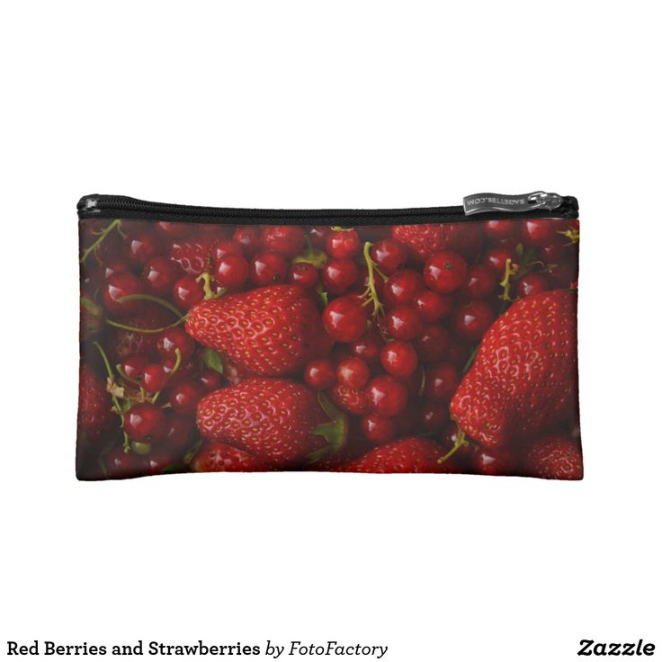 Red Berries and Strawberries Cosmetic Bag