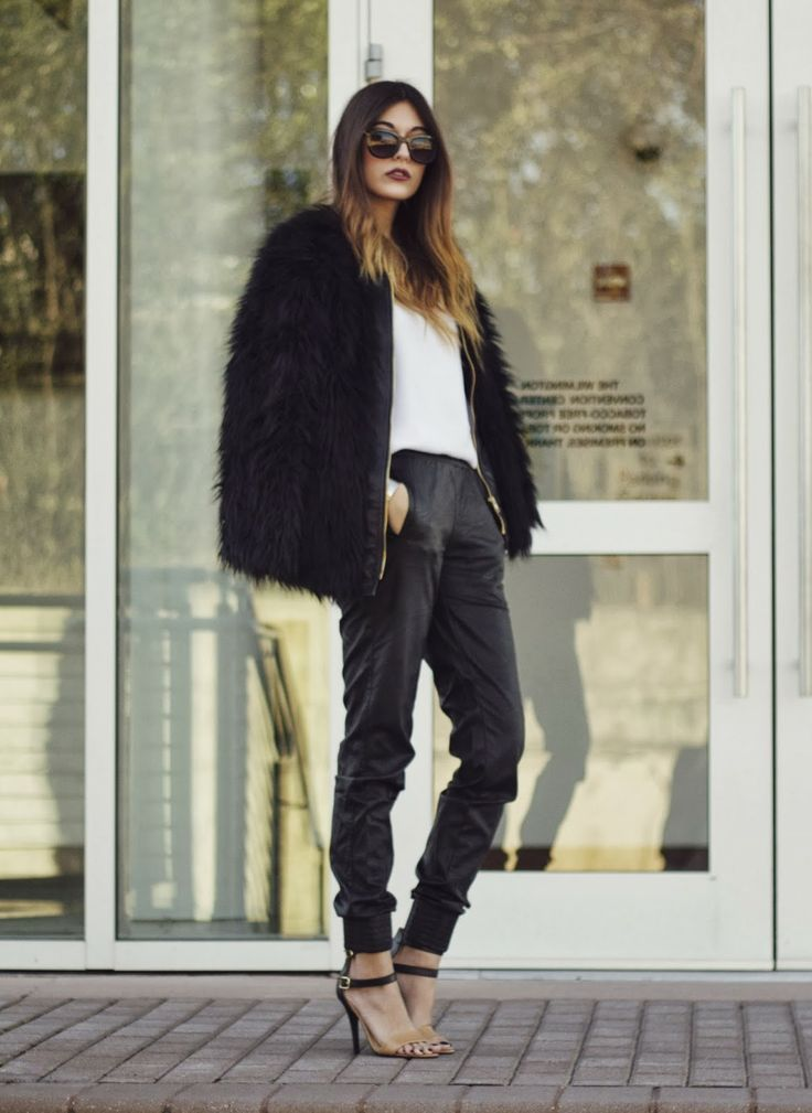 faux fur// leather perfect combo// fave textures