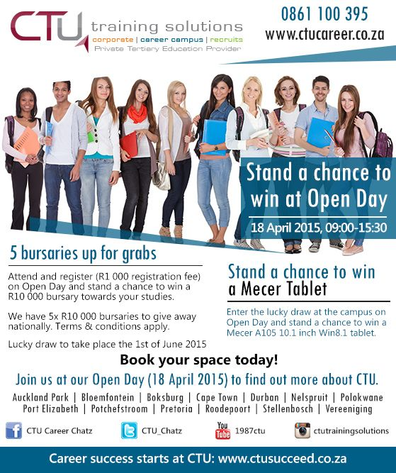 Stand a chance to win at Open Day: 18 April 2015, 09:00-15:30.
