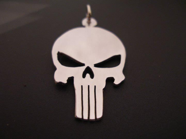 sterling silver punisher . pendant 25mm x 20mm, £19.99