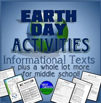 Earth Day Activities!  Informational Texts Plus More.  Celebrate Earth Day's 47th anniversary on April 22, 2017 by reading nonfiction texts and doing corresponding activities: The Plastic Problem, Water Wisdom, and Go Green! The Power of Renewable Energy.