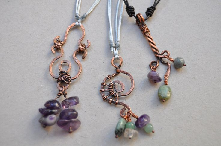 Copper wire work necklaces with amethyst, african turquoise and jade beads by VAN VUUREN designs
